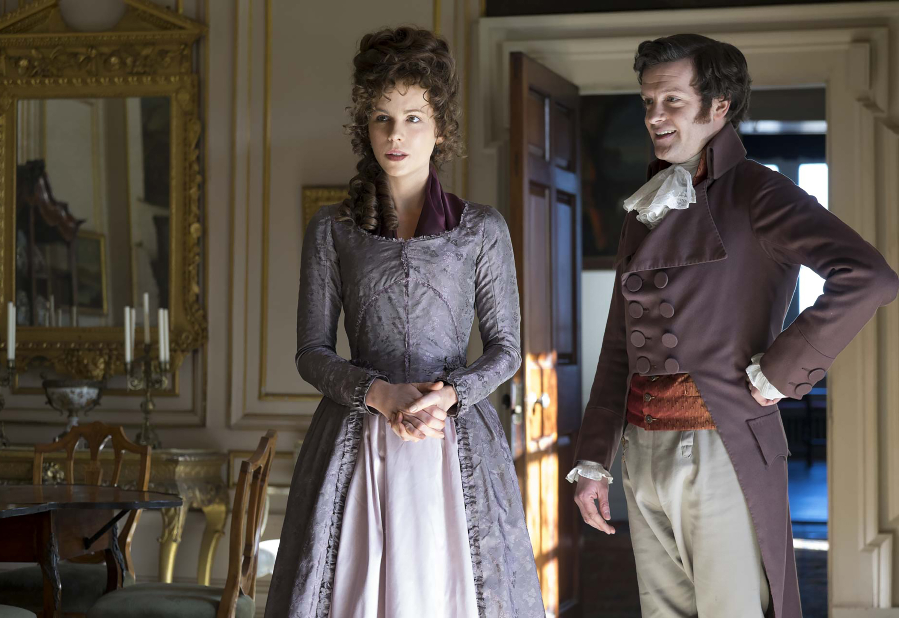 "This image released by Roadside Attractions shows Kate Beckinsale, left, and Tom Bennett in a scene from the film, ""Love & Friendship."" (Bernard Walsh/Roadside Attractions via AP)"